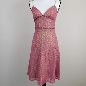 Molly New York Spaghetti Strap Lace Dress Pink